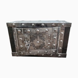 Italienische Schmiedeeisen-Tresorbox aus dem 19. Jahrhundert