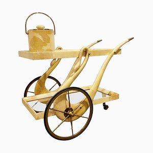 Chariot de Bar Swan Laqué en Peau de Chèvre par Aldo Tura, Italie, 1960s