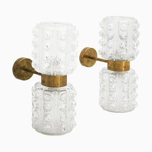 Mid-Century Modern Style Italian Murano Glass and Brass Sconces, Set of 2
