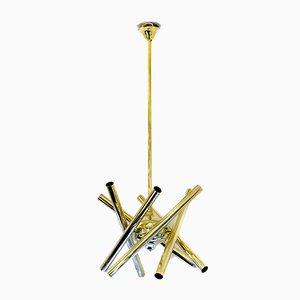 Italian Brass Chandelier by Gaetano Sciolari, 1960s