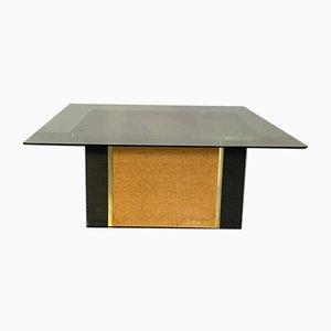Table Basse en Laiton, Laque Noire et Paille de Vivai del Sud, 1970s