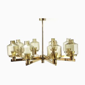 Mid-Century Swedish Brass Chandelier by Hans-Agne Jakobsson for Hans-Agne Jakobsson AB Markaryd, 1960s