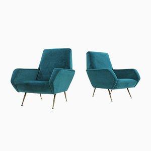 Mid-Century Italian Turquoise Velvet Armchairs, Set of 2