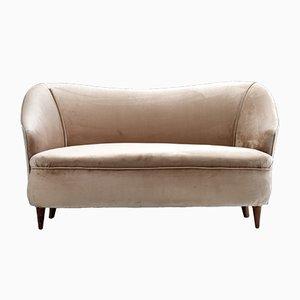 Two-Seater Love Sofa in Velvet and Oak, 1950s