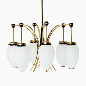 Italian Chandelier in Brass, Metal and Opaline Glass, 1960s