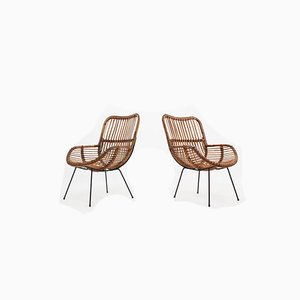 Mid-Century Italian Rattan Shell-Shaped Armchairs, 1950s, Set of 2