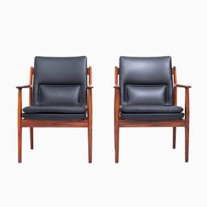 Rosewood & Leather Armchairs by Arne Vodder for Sibast, 1970s, Set of 2