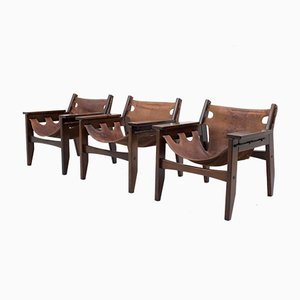 Rosewood Kilin Lounge Chairs by Sergio Rodrigues for OCA, 1972, Set of 3