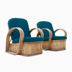 Italienische Stühle aus Rattan in Grüner Wolle, 1950er, 2er Set