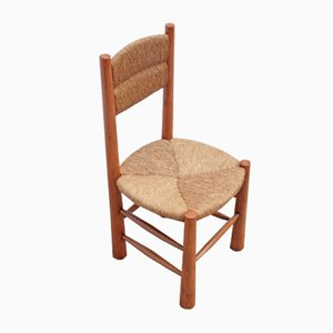 Wood and Straw Dining Chair from Georges Robert, 1950s
