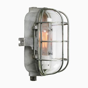 Vintage Industrial Clear Glass and Cast Iron Sconce