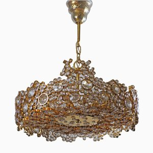 Gilt Brass & Crystal Chandelier in the style of Palwa or Lobmeyr, 1960s