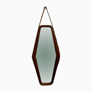 Danish Teak Mirror with Leather Strap, 1950s