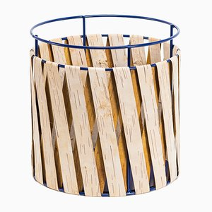 Korob Large Blue Wire Basket with Birch Bark Covering from Moya