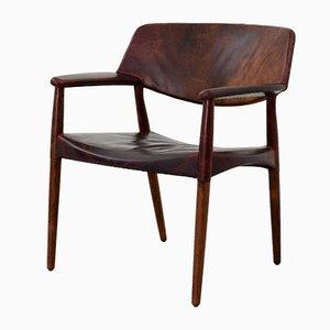 Lounge-Stuhl aus Leder und Rosenholz von A.B. Madsen & E. Larsen für Willy Beck, 1956