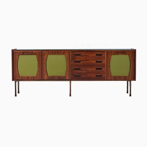 Large Italian Credenza in Rosewood, Felt, Glass and Metal, 1960s