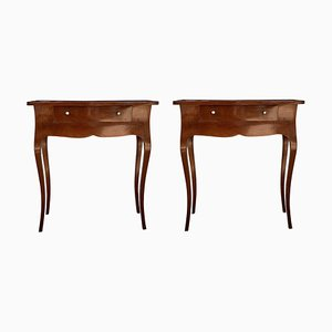 Mid-Century Italian Louis XV Style Cherry Wood Nightstands, Set of 2