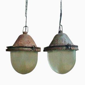 Industrielle Deckenlampe aus Gusseisen, 1960er