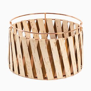 Korob Medium Copper Wire Basket with Birch Bark Covering from Moya