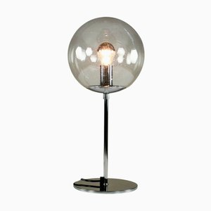 Mid-Century Table Lamp with Glass Ball and Chrome Base from Temde