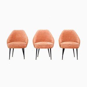 Liegestühle aus rosa Samt von Carlo Pagano für Arflex, 1952, 3er-Set