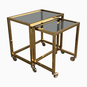 Italian Brass and Smoked Glass Nesting Tables, 1950s, Set of 2