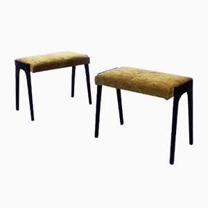 Italian Mid-Century Wood and Velvet Ottomans, 1950s, Set of 2