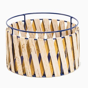 Korob Medium Blue Wire Basket with Birch Bark Covering from Moya