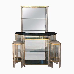 Italian Mid-Century Modern Dry Bar Set in Chrome, Lucite and Glass, 1960s, Set of 4