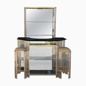 Juego de bar italiano Mid-Century Modern de cromo, lucite y vidrio, años 60. Juego de 4