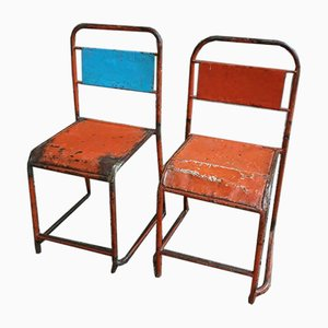 Industrial Red and Blue Factory Chairs, 1970s, Set of 2
