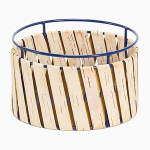 Korob Small Blue Wire Basket with Birch Bark Covering from Moya