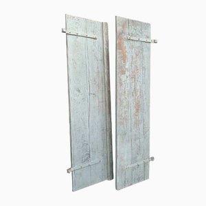 Antike Türen aus blauer und grauer Eiche mit Fensterläden, 2er-Set