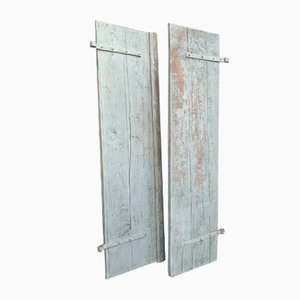 Antique Blue and Grey Oak Doors with Shutters, Set of 2