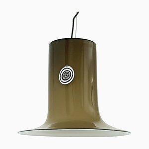 Lampada da soffitto in vetro di Murano bianco e marrone di Alessandro Pianon per Vistosi, anni '60