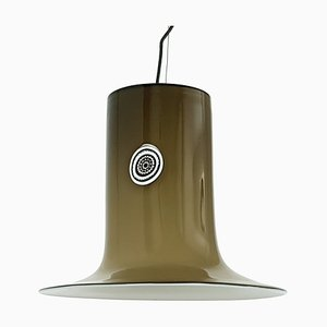 White and Brown Murano Glass Ceiling Lamp by Alessandro Pianon for Vistosi, 1960s