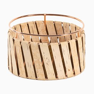 Korob Small Copper Wire Basket with Birch Bark Covering from Moya
