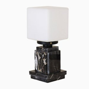 Opal and Black Marble Table Lamp, 1970s
