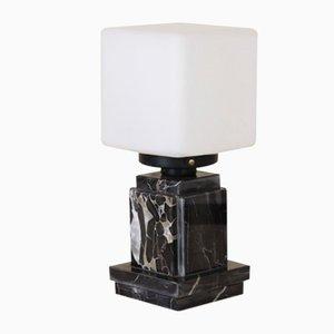 Tischlampe aus Opalglas & schwarzem Marmor, 1970er