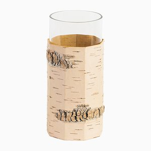Tara Flower Vase in Birch Bark and Glass from Moya