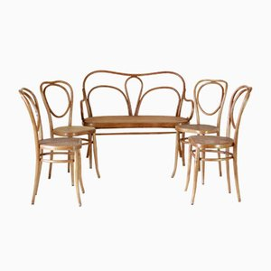 Antique Dining Chairs in the style of Thonet and Wackerlin & Co., Set of 5