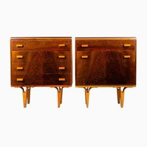 Black Glass and Plywood Nightstands from Novy Domov NP, 1970s, Set of 2