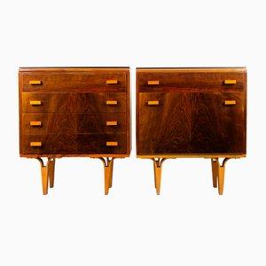 Tables de Chevet en Contreplaqué de Verre Noir de Novy Domov NP, 1970s, Set de 2