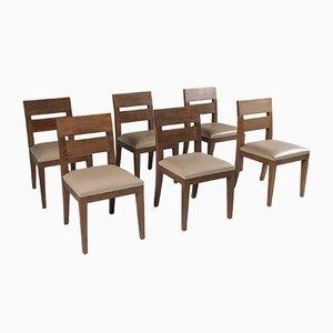 Sessel aus Gebeiztem Eichenholz & Leder von Christian Liaigre, 1999, 6er Set