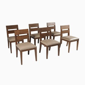 Stained Oak and Leather Armchairs by Christian Liaigre, 1999, Set of 6