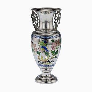 Antike chinesische Vase aus massivem Silber und Emaille aus dem 19. Jahrhundert von Bao Cheng, 1890er Jahre