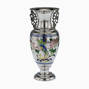 Antique 19th-Century Chinese Solid Silver & Enamel Vase by Bao Cheng, 1890s