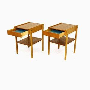 Teak and Oak Nightstands, 1960s, Set of 2