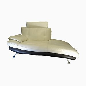 Vintage French Polished Steel and Leather Chaise Lounge