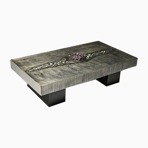 Aluminum Etched Coffee Table with Amethyst Inlay by Marc D'Haenens, 1970s